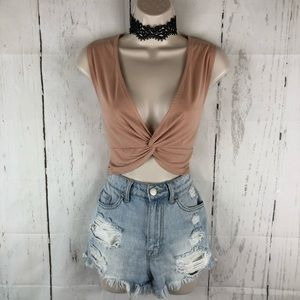 Peach twist front crop top